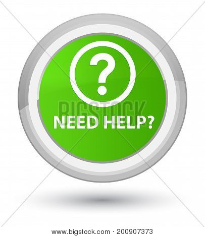 Need Help (question Icon) Prime Soft Green Round Button