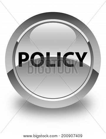 Policy Glossy White Round Button