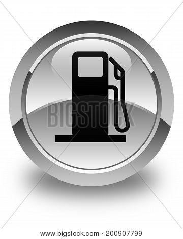Fuel Dispenser Icon Glossy White Round Button