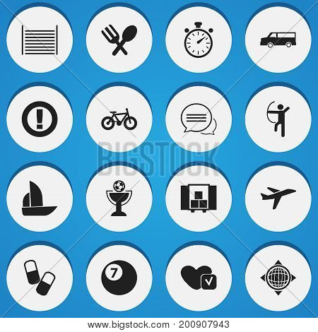 Set Of 16 Editable Complicated Icons. Includes Symbols Such As Aircraft, Bicycle, Blank And More