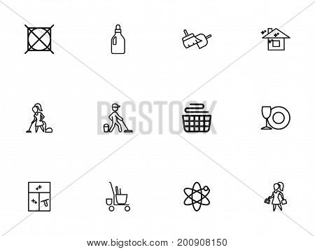 Set Of 12 Editable Cleanup Outline Icons. Includes Symbols Such As Trolley, Cleaning Window, Clean House And More