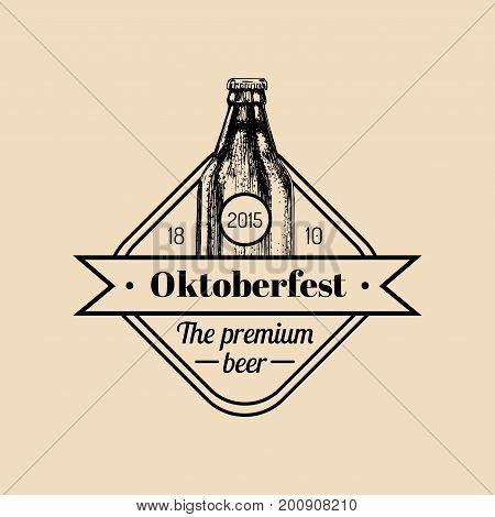 Oktoberfest label. Beer festival sign with hand sketched bottle. Vector vintage brewery badge. Wiesn symbol.