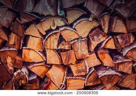 Firewood logs stacked in piles outside cottage