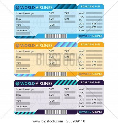 Airline or plane ticket set. Boarding pass blank and airplane ticket template. Colorful vector illustration.