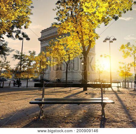 Arc de Triomphe in Paris at the sunset