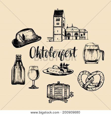 Oktoberfest symbols collection for beer festival flyer and poster. Vector hand sketched set of glass mug, pretzel, barrel etc. for brewery label or badge.