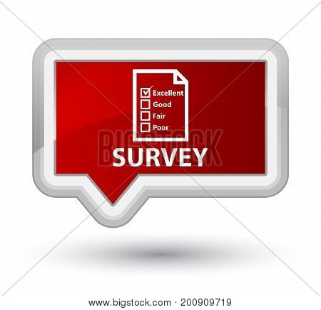 Survey (questionnaire Icon) Prime Red Banner Button
