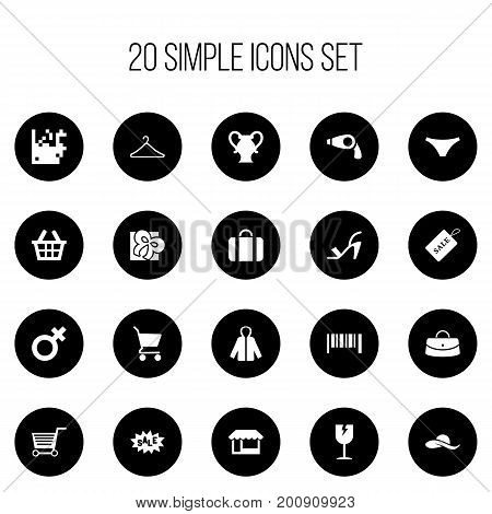 Set Of 20 Editable Business Icons. Includes Symbols Such As Pushcart, Blow Dryer, Hatband