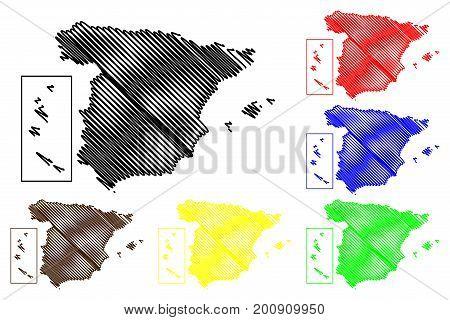 Spain map vector illustration , scribble sketch Spain