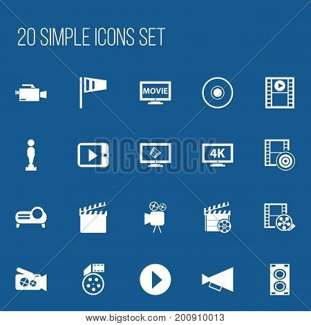 Set Of 20 Editable Cinema Icons. Includes Symbols Such As Film, Tripod, Play Video And More