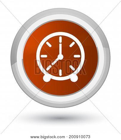 Clock Icon Prime Brown Round Button