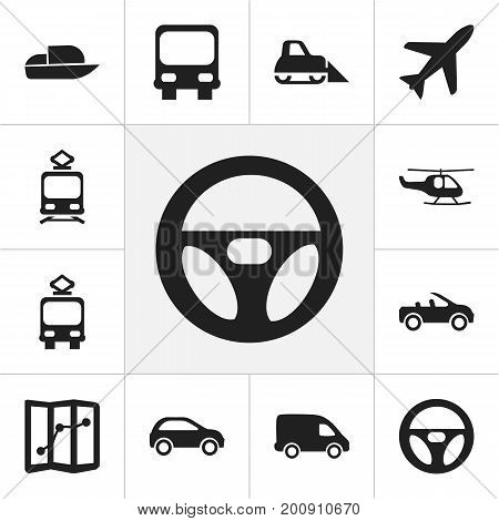 Set Of 12 Editable Shipment Icons. Includes Symbols Such As Drive Control, Tramcar, Chopper And More