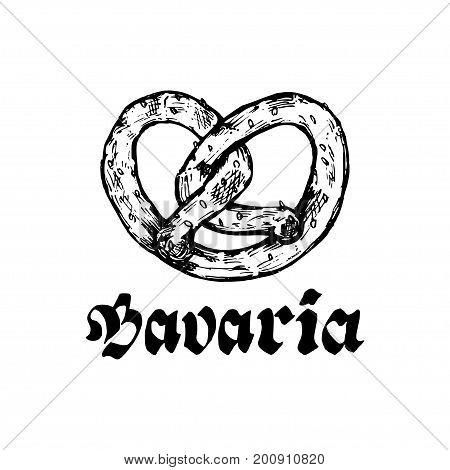 Oktoberfest symbol. Beer festival sign with hand sketched bagel. Bavarian pretzel drawing. Wiesn label or badge.