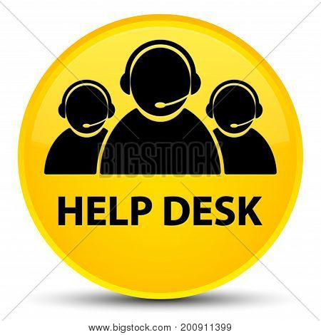 Help Desk (customer Care Team Icon) Special Yellow Round Button