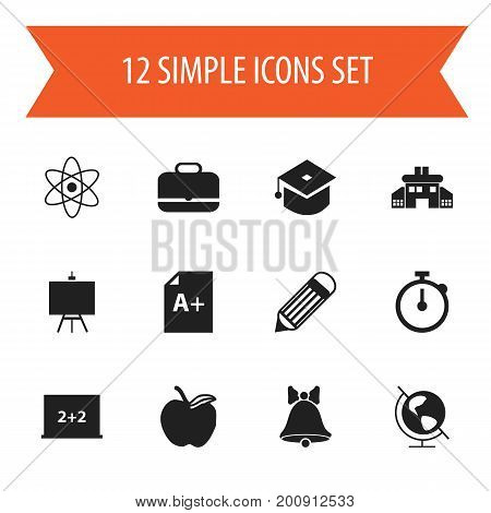 Set Of 12 Editable Education Icons. Includes Symbols Such As Eraser , Painter's Stand, Timer