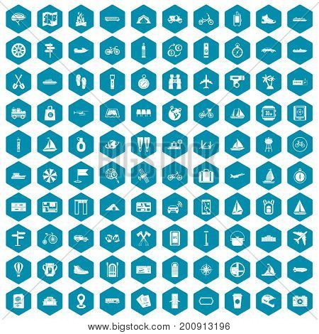 100 voyage icons set in sapphirine hexagon isolated vector illustration