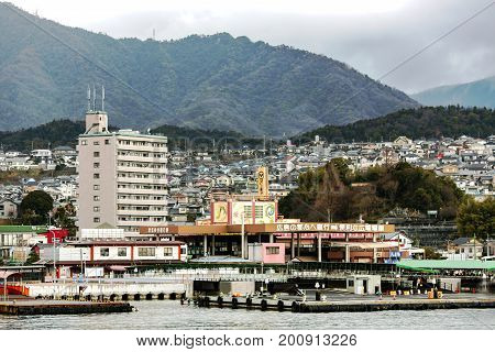 JAPAN, HIROSHIMA, APRIL, 06, 2017 - View from the water on the Japanese city of Hiroshima in the southwest of Honshu Island, Japan.The first city in the world that was subjected to nuclear bombing.