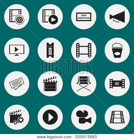 Set Of 16 Editable Filming Icons. Includes Symbols Such As Camera Strip, Start, Movie Strip And More