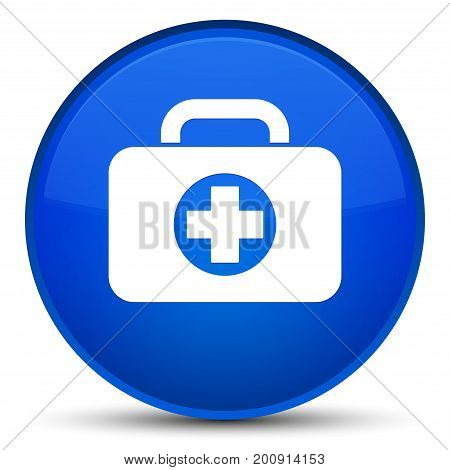 First Aid Kit Bag Icon Special Blue Round Button