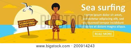 Sea surfing banner horizontal concept. Flat illustration of sea surfing banner horizontal vector concept for web