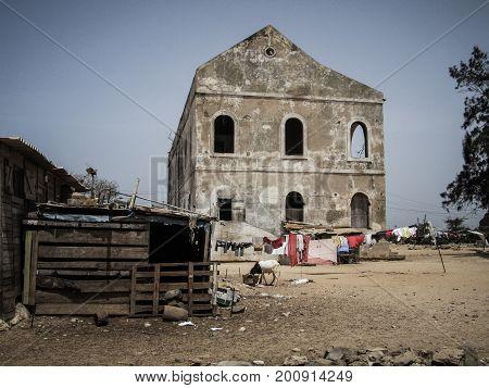 Dakar, Senegal - May 29, 2011 - The ruins of an abandoned building serve as a makeshift farm
