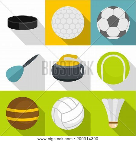 Active games icons set. Flat set of 9 active games vector icons for web with long shadow