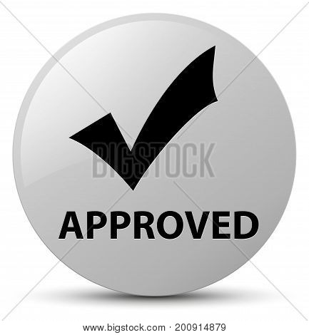 Approved (validate Icon) White Round Button