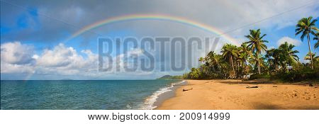 Panoramic Rainbow Tropical Paradise Beach