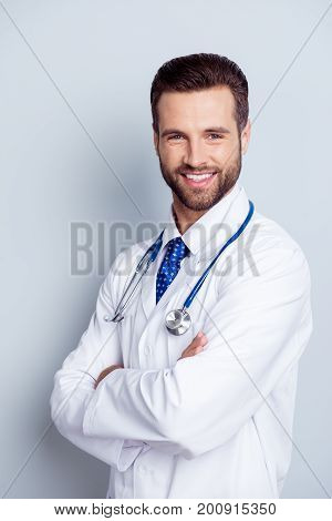 Authority And Success Concept. Young Handsome And Stylish Bearded Professor Of Medicine In White Uni