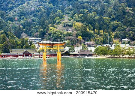 JAPAN, MIYAJIMA, APRIL, 06, 2017 - Miyajima, The famous Floating Torii gate, Japan. The great Torii is the boundary between the spirit and the human worlds.