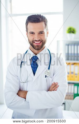 Authority And Success Concept. Young Handsome And Stylish Professor Of Medicine In White Uniform Is