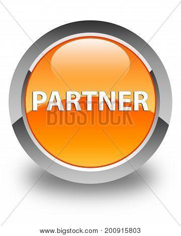 Partner Glossy Orange Round Button