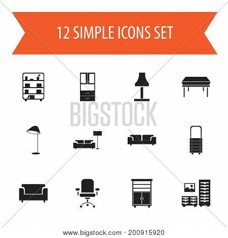 Set Of 12 Editable Interior Icons. Includes Symbols Such As Ergonomic Seat, Trestle, Locker And More