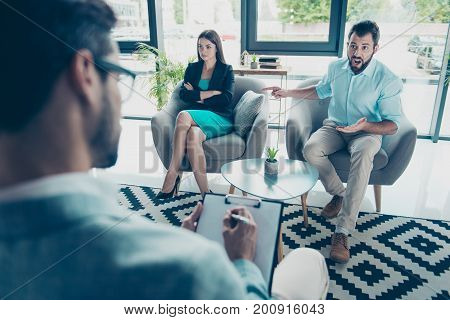 Going Crazy And Insane, Stress And Agression. Angry Young Brunet Bearded Husband Is Pointing At His