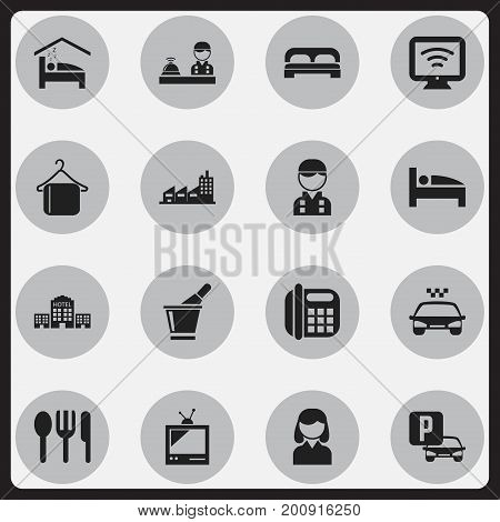 Set Of 16 Editable Travel Icons. Includes Symbols Such As Champagne, Hanger, Townhouse And More