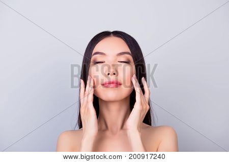 Aging, Acne, Pimple, Wrinkles, Oily, Dry Skin Concept. Close Up Photo Of Pretty Young Korean Lady, T