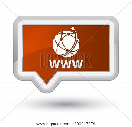 Www (global Network Icon) Prime Brown Banner Button