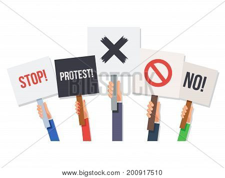 Hands holding protest posters. No and stop, cross, forbid, protest.Concept revolution and demonstration. Vector illustration in flat style isolated on white background for Wed banner or poster