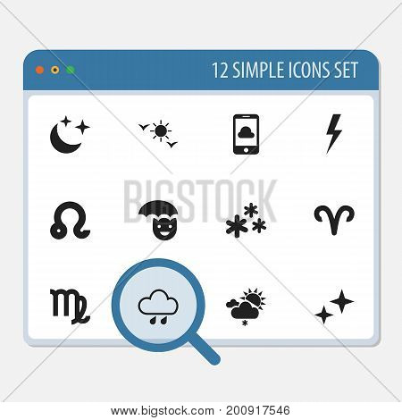 Set Of 12 Editable Climate Icons. Includes Symbols Such As Snowflakes, Phone, Virgin And More
