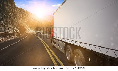 Transportation delivery truck driving on street or highway (3D Rendering)