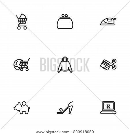 Set Of 9 Editable Business Outline Icons. Includes Symbols Such As Hoodie, High Heeled, Money Purse And More