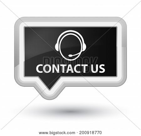 Contact Us (customer Care Icon) Prime Black Banner Button