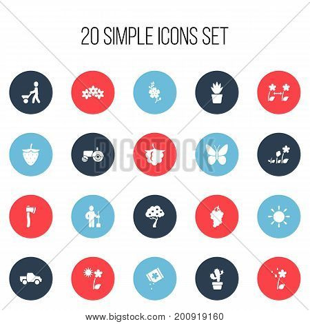 Set Of 20 Editable Planting Icons. Includes Symbols Such As Fruit Woods, Cluster, Tomahawk And More