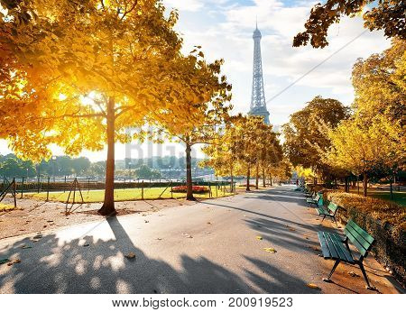 Sunny morning and Eiffel Tower in autumn, Paris, France