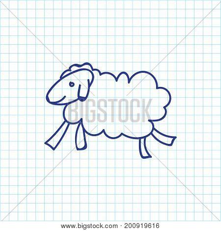 Vector Illustration Of Zoology Symbol On Sheep Doodle
