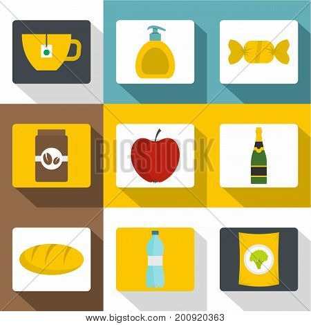 Grocery shop icons set. Flat set of 9 grocery shop vector icons for web isolated with long shadow