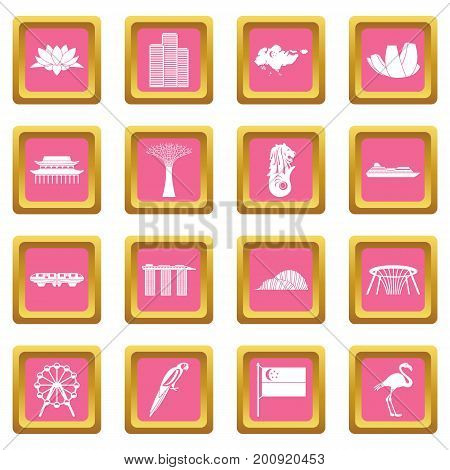 Singapore icons set in pink color isolated vector illustration for web and any design
