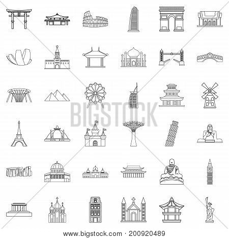 Famous place icons set. Outline style of 36 famous place vector icons for web isolated on white background