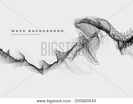 Abstract Background with Dynamic Particle sound waves black and white