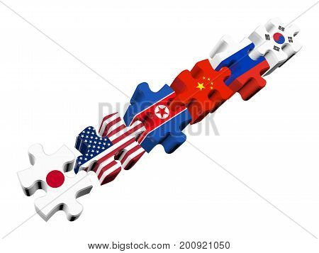 Puzzles in 3d - Six-Party talks on the problem of North Korea (North Korea South Korea USA Russia China Japan) isolated on a white background